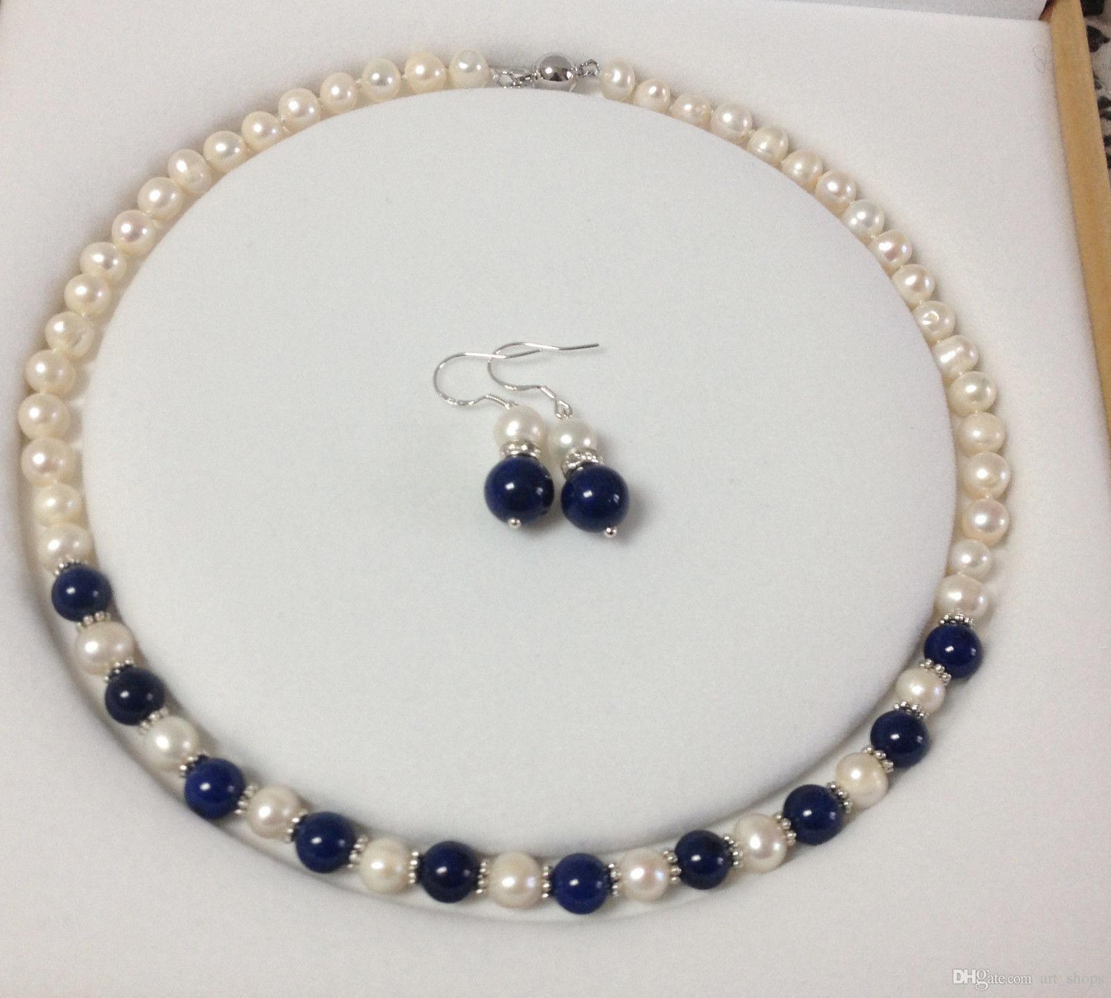 FFREE NAKLIYE ** 7-8 MM Gerçek Doğal Beyaz Inci / Lapis Lazuli Yuvarlak Boncuk Kolye Küpe seti