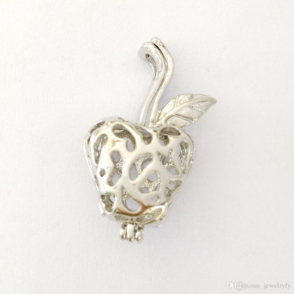 Apple Cage Pendant Mountings, Can Open and Hold Pearl Gem Bead Locket Cage, DIY Fashion Jewelry Charms
