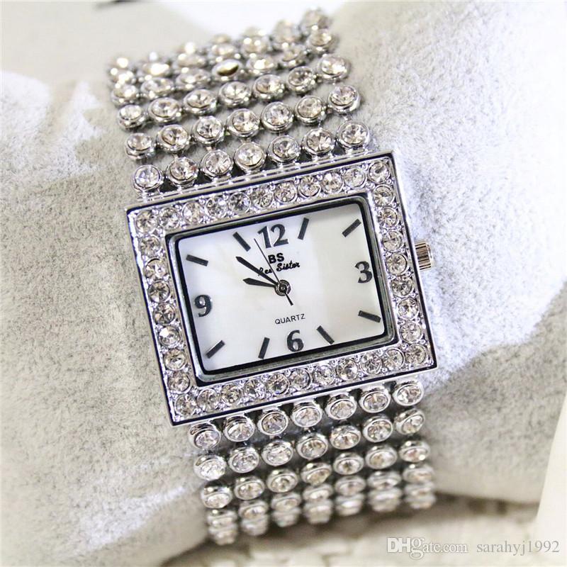 BS новая цепочка высокого класса часы на заказ алмазные часы сплава часы мода роскошные женские платья кварцевый механизм FA0275