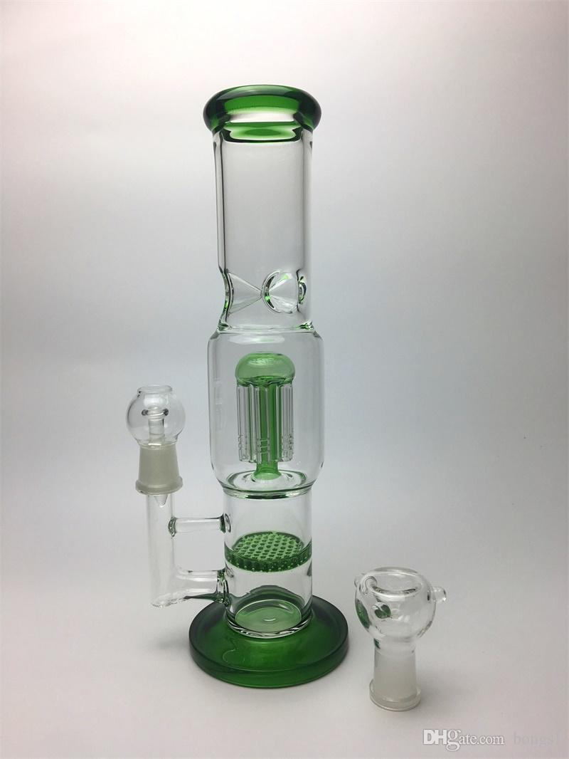 "Glass Water Smoking Pipe Percolator Pipes Honeycomb Disk Bong With Arm Tree Perc Vase 9.8""/ 12"" Height 3 Colors"