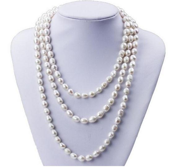 Collana di perle d'acqua dolce naturale bianca a forma di riso a singolo filo 7-8mm per donna da 48 pollici