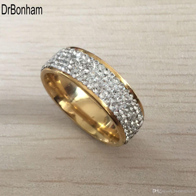 Completa 5 Row zircon diamante jóias frete grátis atacado ouro cor aço inoxidável anéis de casamento EUA tamanho 7/8/9/10/11/12
