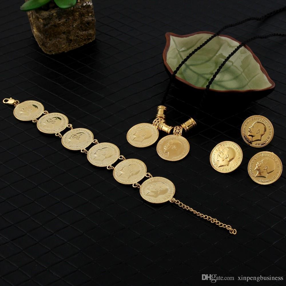 14k gelb echt massivgold gf münze schmuck sets äthiopisch portrait münze set halskette anhänger ohrringe ring armband größe schwarze seilkette