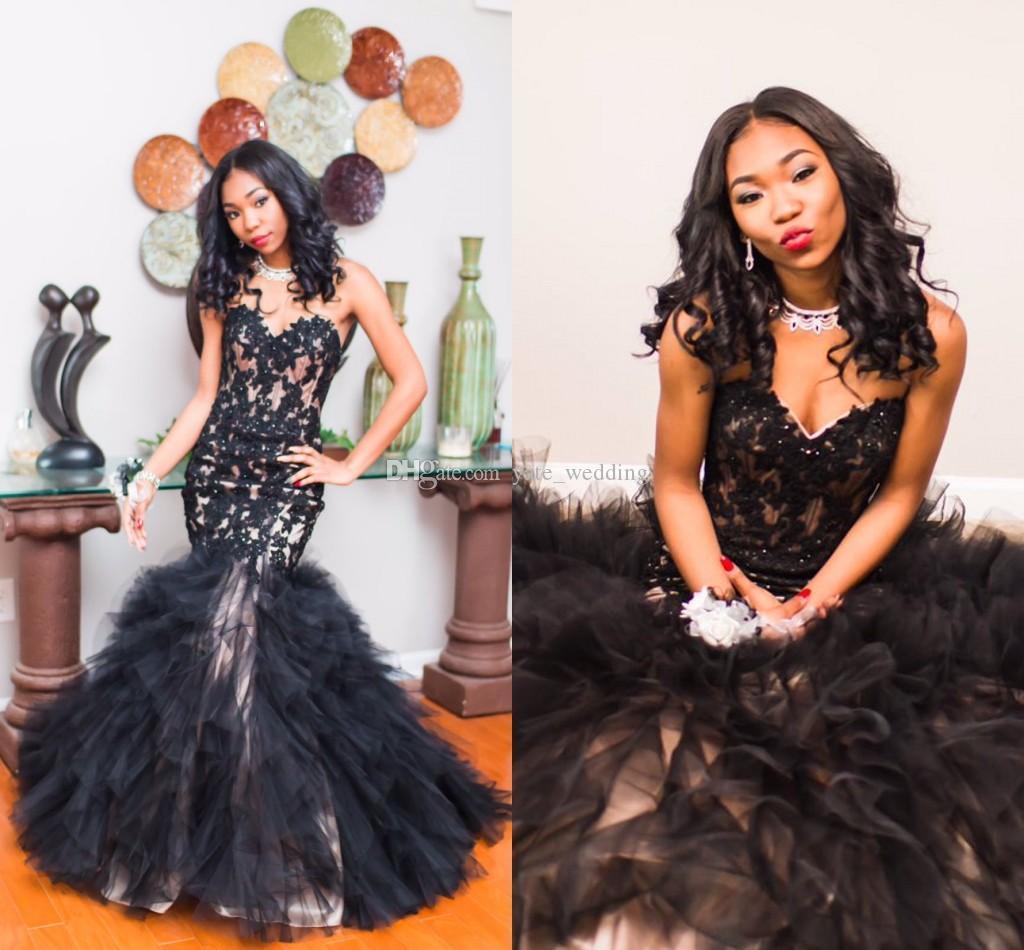 2017 Date Black Mermaid Prom robes Sweetheart Appliques Dentelle Tulle Etage Longueur Corset Lace Up Robes De Graduation Robes De Soirée