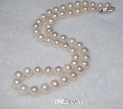 Großverkauf 8-9mm südsee weiße natürliche perlenkette 18 zoll 925 silber spange QX-8923