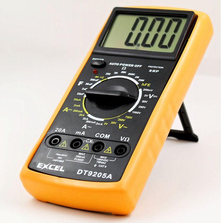 디지털 멀티 미터 멀티 미터 엑셀 DT9205A LCD 디스플레이 AC DC 전류계 전압계 커패시턴스 저항 주파수 측정기 멀티 테스터