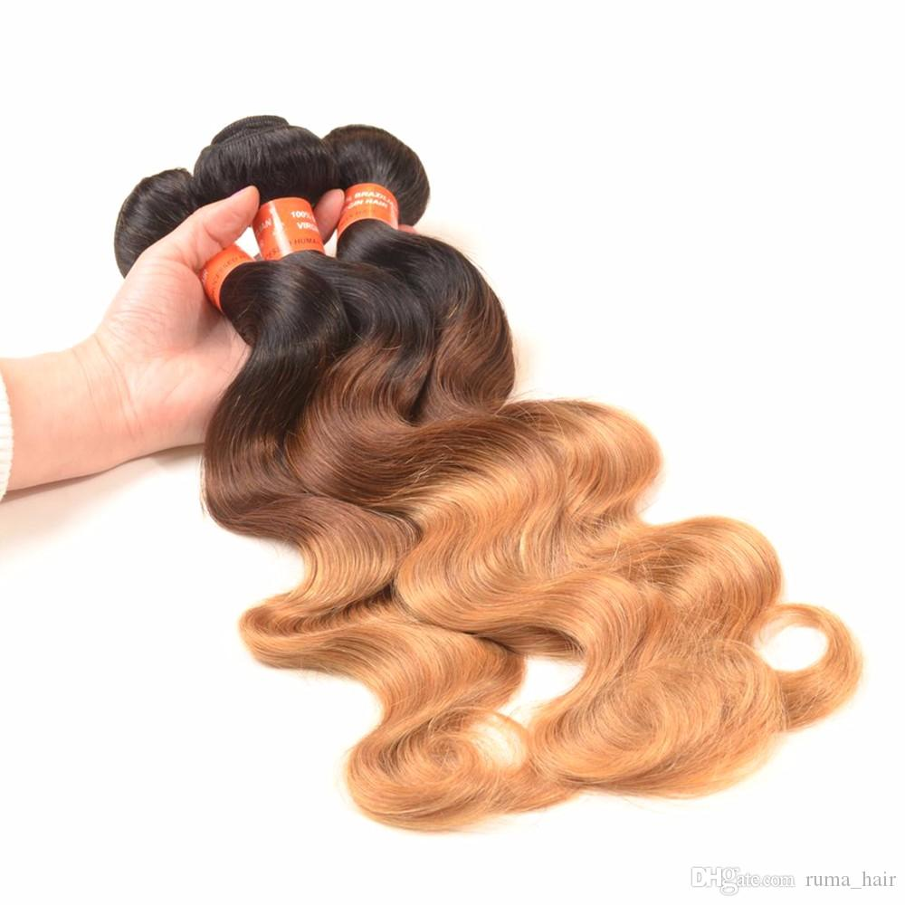 Omber #1b/4/27 Body Wave Hair Extension Brazilian Human Weave Hair Ombre Honey Blonde Hair Extension 3pcs/Lot Brown Blonde Bundles