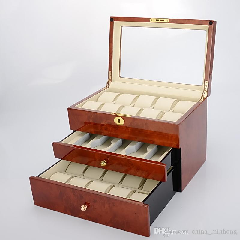 Senior Classical Glass Window 25 Grids 3 Layer Luxury Wooden Piano Paint Watch Box Display Case Organizer Factory Suppliers and Manufacturer