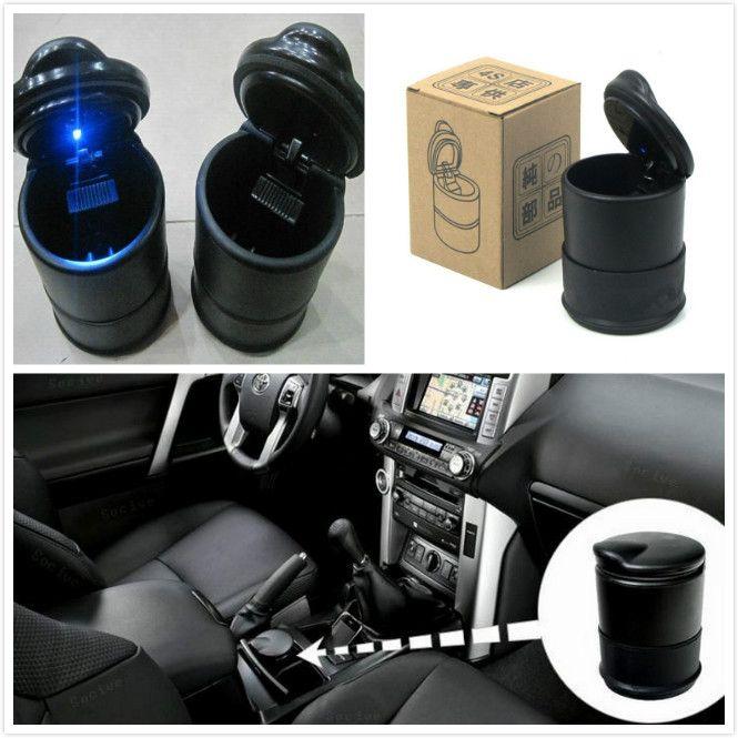Struttura alta Posacenere per veicoli Posacenere per auto Ignifugo con luce LED 9.5x7cm Nero Accessori per sigarette portatili di alta qualità DHL libero