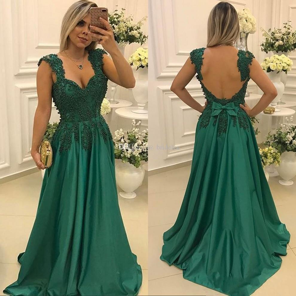 Großhandel Elegante Grüne Abendkleider Lange 20 Perlen Perlen Satin  Abschlussball Partei Backless Marokkanischen Kaftan Abendkleid Von  Bridelee,