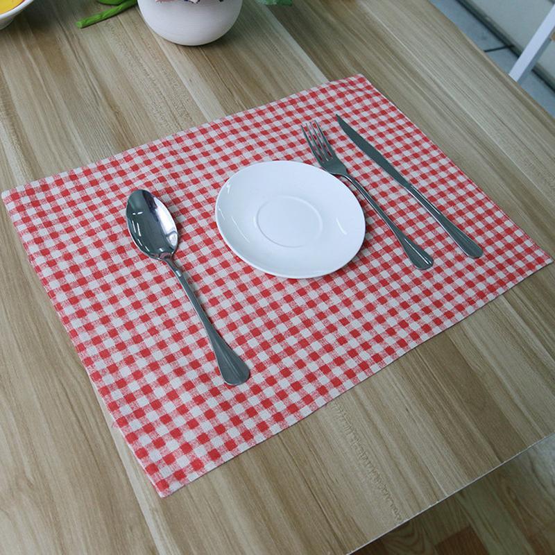 Al por mayor-4Pz Zakka Mesa de comedor Mat Set Decoracao Accesorios de cocina Manteles Individuales Jogo Americano De Jantar mantel rojo Placemat