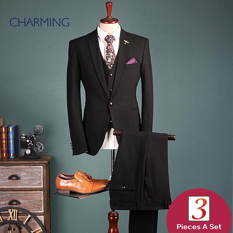 estilo cavalheiro ternos Slim Fit Cavalheiro 3 pedaço terno Grade textura de alta qualidade ternos tecido desenhador para ternos dos homens de negócios