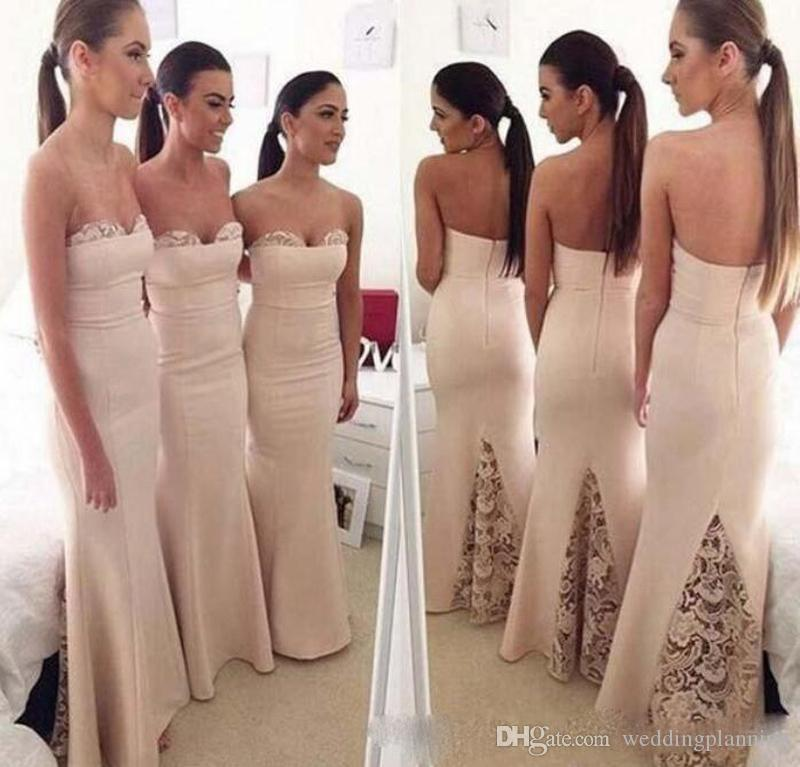 2017 Mermaid Style Lace Ivory Bridesmaid Dresses Sweetheart Sexy Wedding Guest Gowns Open Back Trumpet Satin Long Bridesmaids Dress For Girl Silver