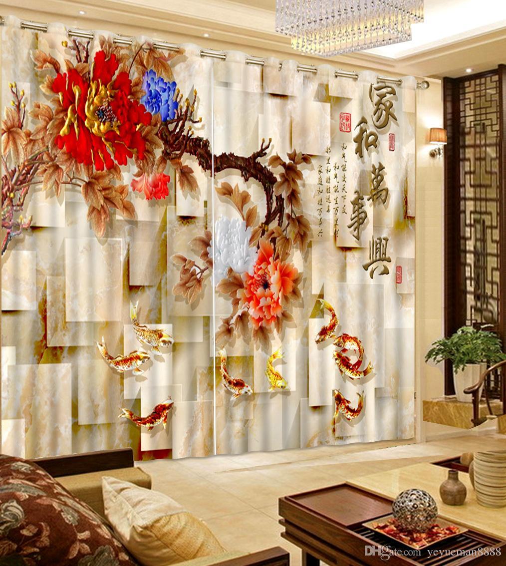 Tenda di finestra moderna cinese foto tende 3D per soggiorno nove fiori di pesce Blackout Tende da cucina Decorazione della casa