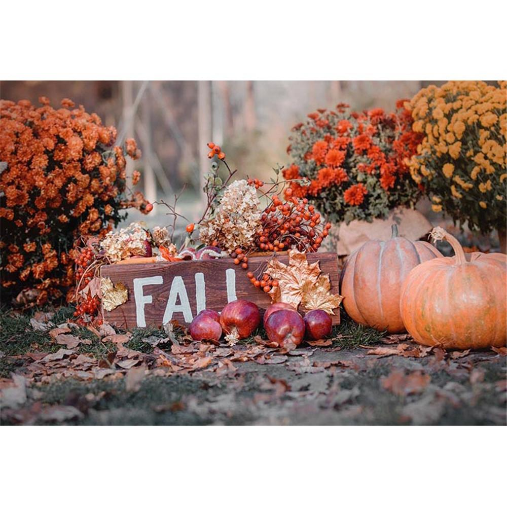 Halloween Theme Photographic Background Flowers Maple Leaves Autumn Scenic Wallpaper Pumpkins Kids Children Fall Backdrops for Photography