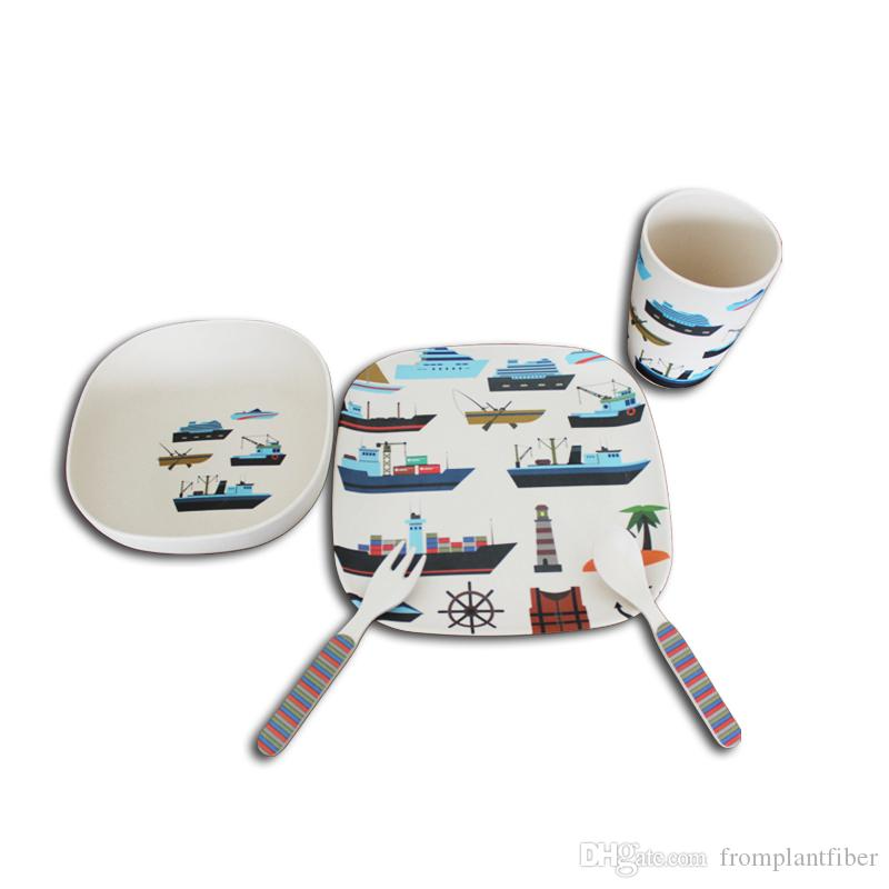 set ocean fleet baby bamboo square dinner sets ecofriendly kids cartoon dishes set
