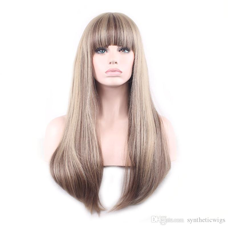 WoodFestival women full wigs mix color long straight wig ombre heat resistant fiber wig synthetic flax blonde