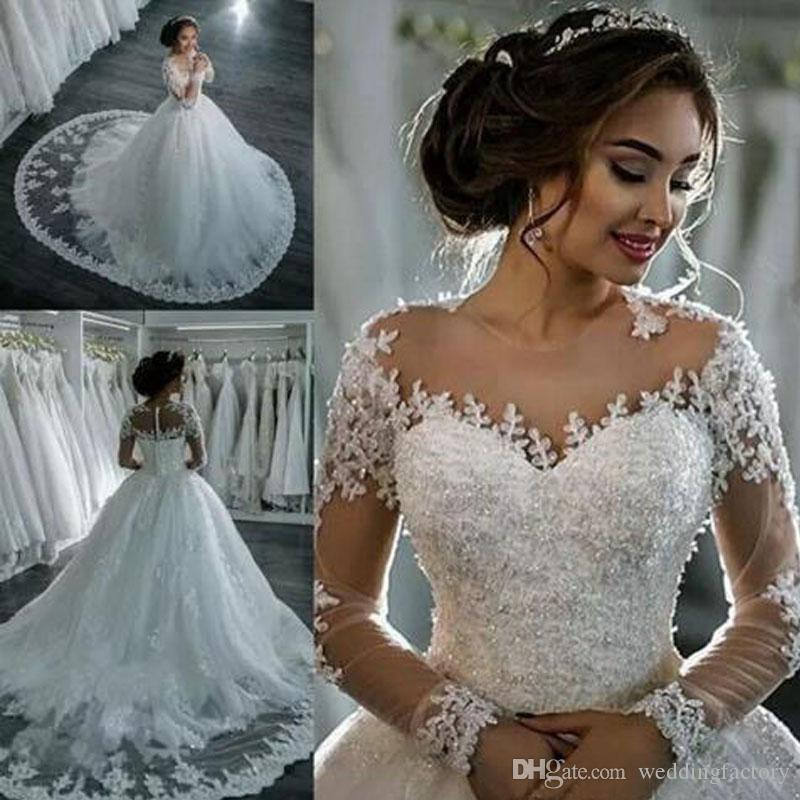 Princess Lace Ball Gown Wedding Dresses Vestido De Novia Illusion Long Sleeve Beaded Lace Appliques Puffy Bridal Gown with Train