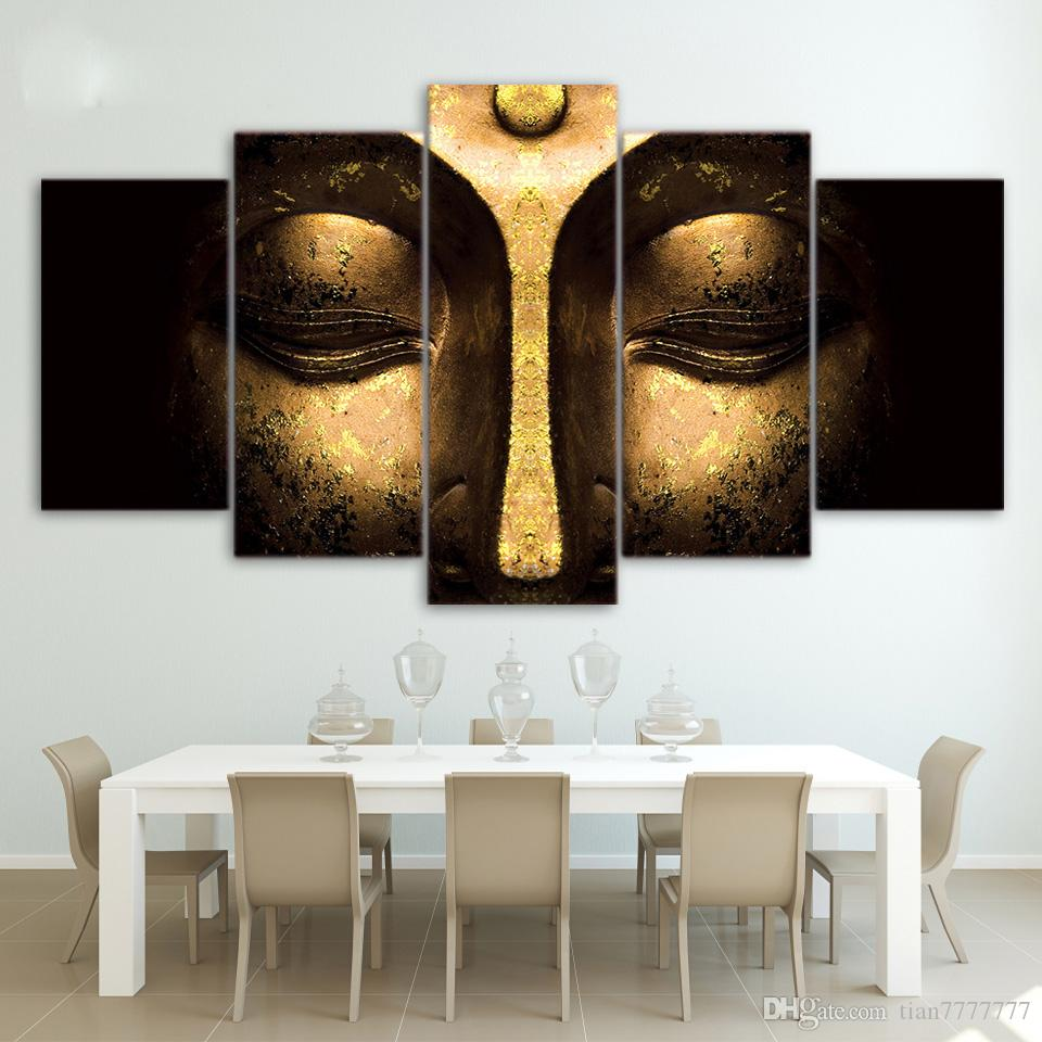 No Frame Half Face Buddha Paintings On Canvas Modern Home Decoration Wall Art Print Picture