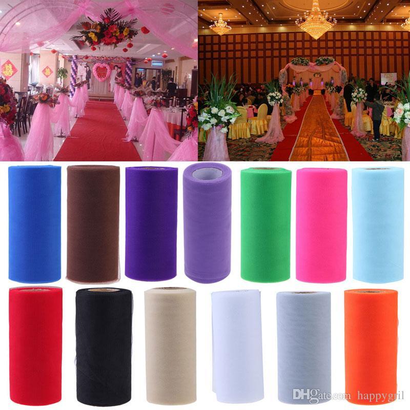 25yards de tejidos de 6 pulgadas de tul decoración de la boda del rollo de papel Carrete Craft fiesta de cumpleaños del bebé ducha de la boda Decoración Suministros