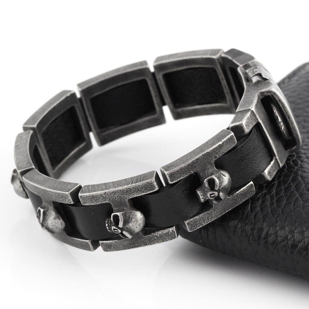 Nuovi gioielli di moda Punk Skull Bracciale in acciaio inossidabile Pulseras Uomo Nero Bracciali in vera pelle Bangles LB598