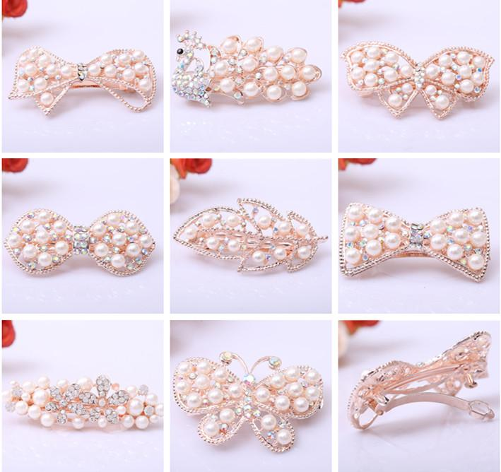 Bridal Crystal Pearl Hairclips Pearl Rose Golden Rhinestone Bowknot Butterfly Peacock Leaf Hair Clip Women Wedding Party Jewelry Accessories