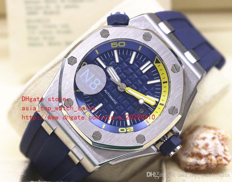 última versión Luxury Automatic Mechanical Blue Dial Reloj de acero inoxidable para hombre Relojes correa de caucho