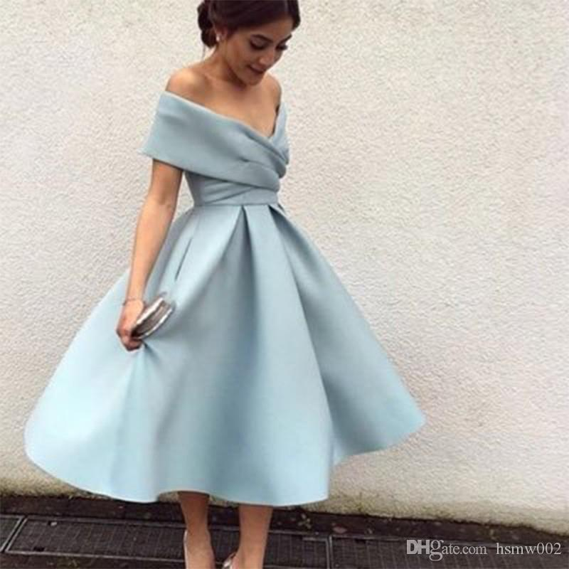 Nouvelle Arrivée Robe De Cocktail Bleu Clair De L'épaule Longueur De Thé Court Robes De Bal Parti De Haute Qualité Robes De Bal De Retour Formelle Robe