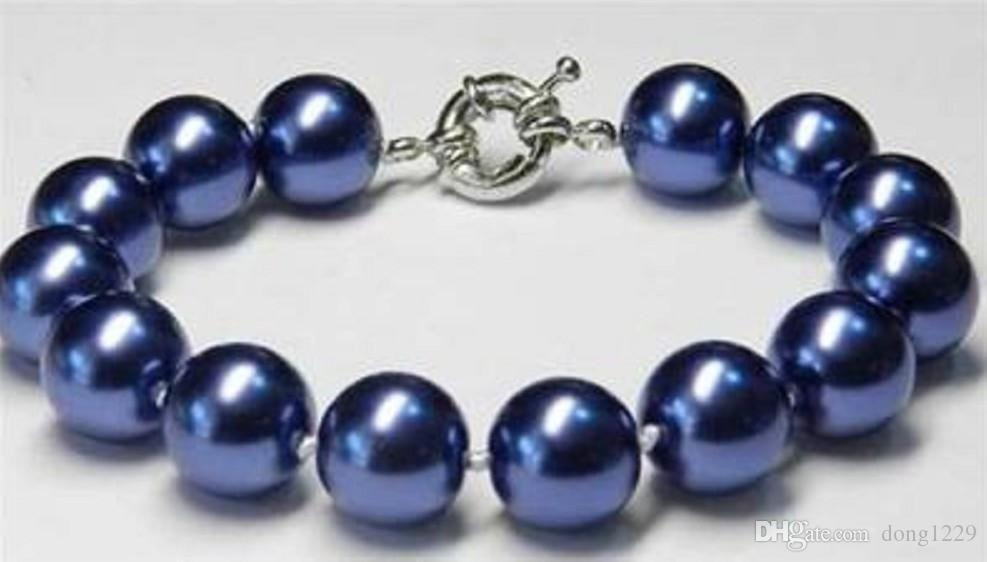 Affascinante! 12mm Blue Sea Shell Pearl Bracelet 7.5 ''