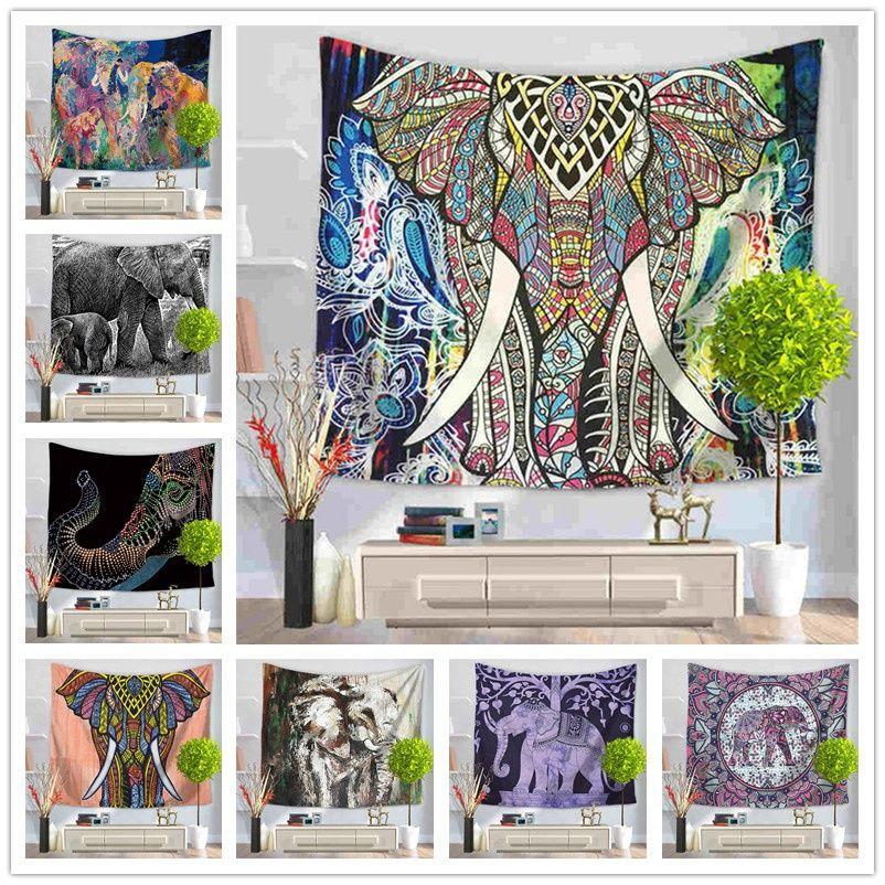 Indian Mandala Tapestry Color Painted Elephant Wall Tapestry Beach Towel Yoga Mat Blanket Cloth Beach Towel Fashion Sofa Wall Decor