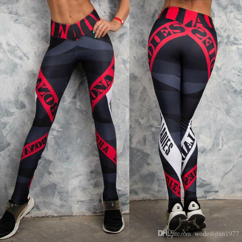 Womens Print Sexy Athleisure Fitness Schlanke, figurbetonte Hose Damenmode Gymnasium Active Elastic Skinny Leggings