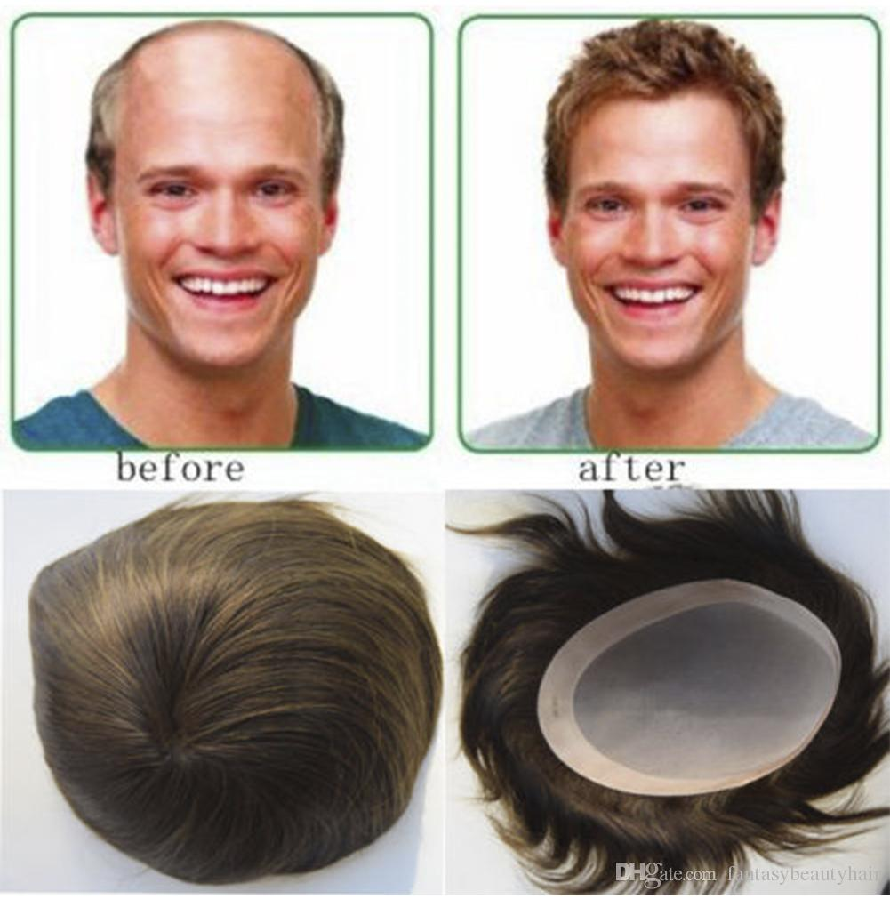 2019 Mens Toupee Human Hair 7x9 6x8 8x10