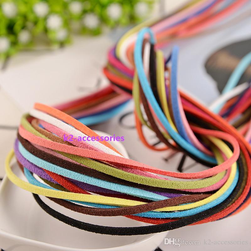 20pcs / lot x 1 metro de imitación de gamuza collar de la joyería de piel Cuerdas de 2,5 mm hilo de bricolaje fabricación de joyas