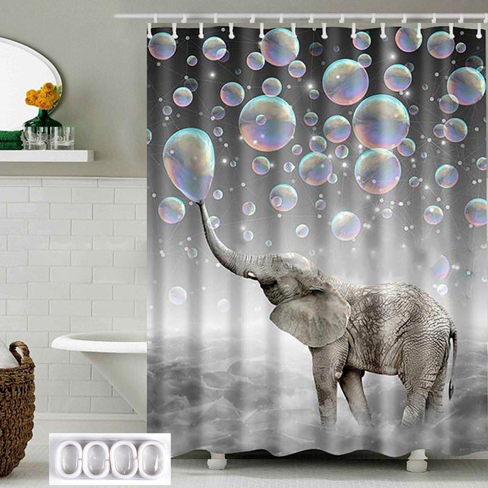 Оптово 180см * 180см Ванная комната Душ Шторы Sheer Панель водонепроницаемый полиэстер Ткань Декор 12 Крючки Elephant