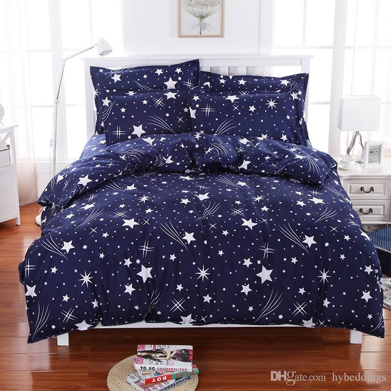Meteor Shower Stars Blue Bedding Set Soft Polyester Duvet Cover Bed Set  Twin Full Queen King Size Bed Sheets Bedlinen Bedclothes Comforter Sets  Online ...