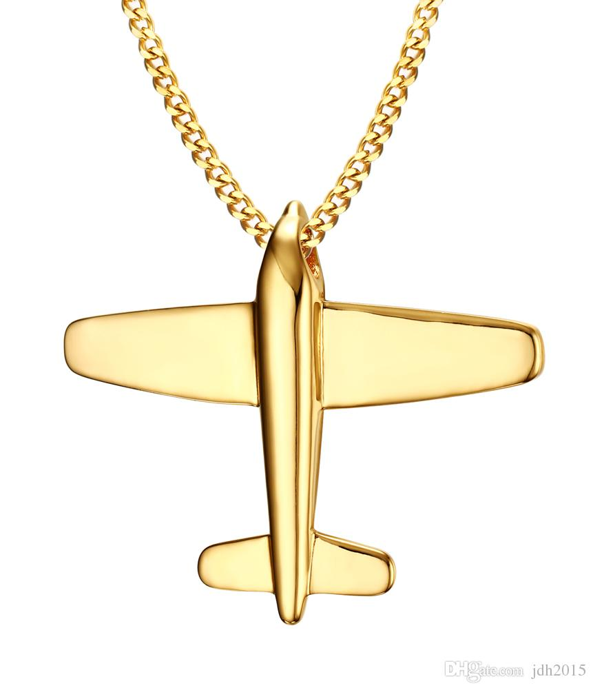 Men's Stainless Steel Aircraft Airplane Pendant Necklace with 24 inch Chain