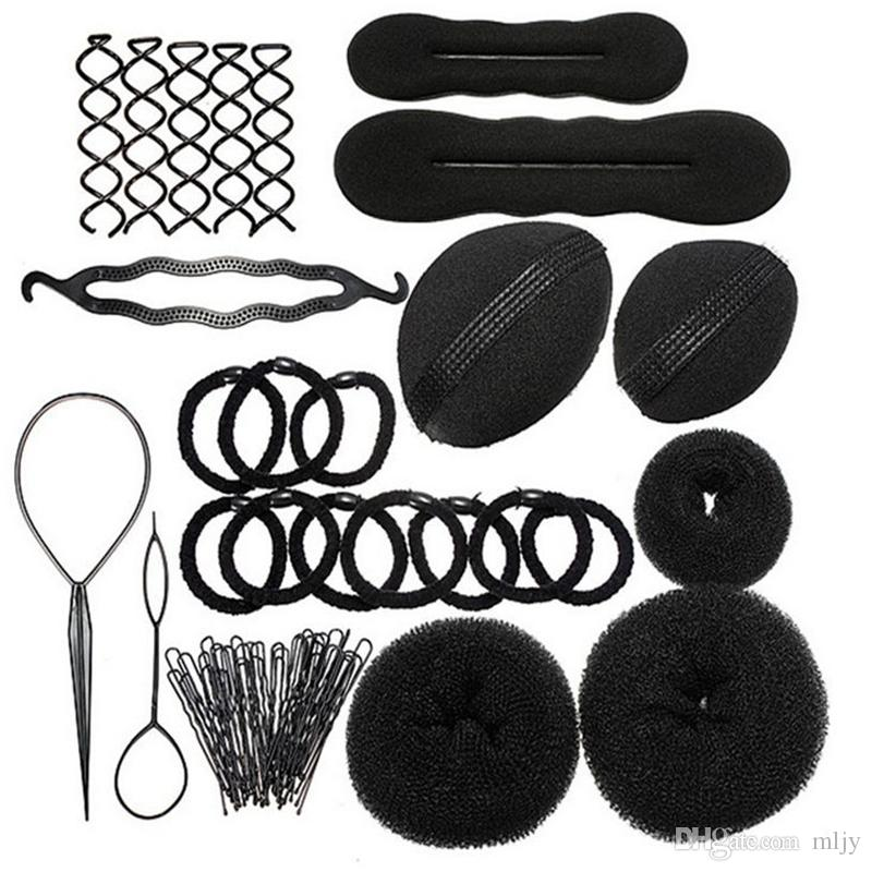 MLJY Hairdressing DIY Аксессуары для волос Sponge Disk Hair Увеличенная палка для волос Pin Clip Rubber Band Профессиональные инструменты Braid Style 1 Set