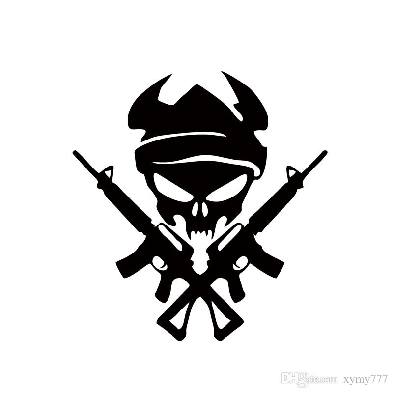 Cool Graphics Personality Viking Skull With Gun Machine Shooting Car Stying Car Stickers Vinyl Graphics Decals Jdm
