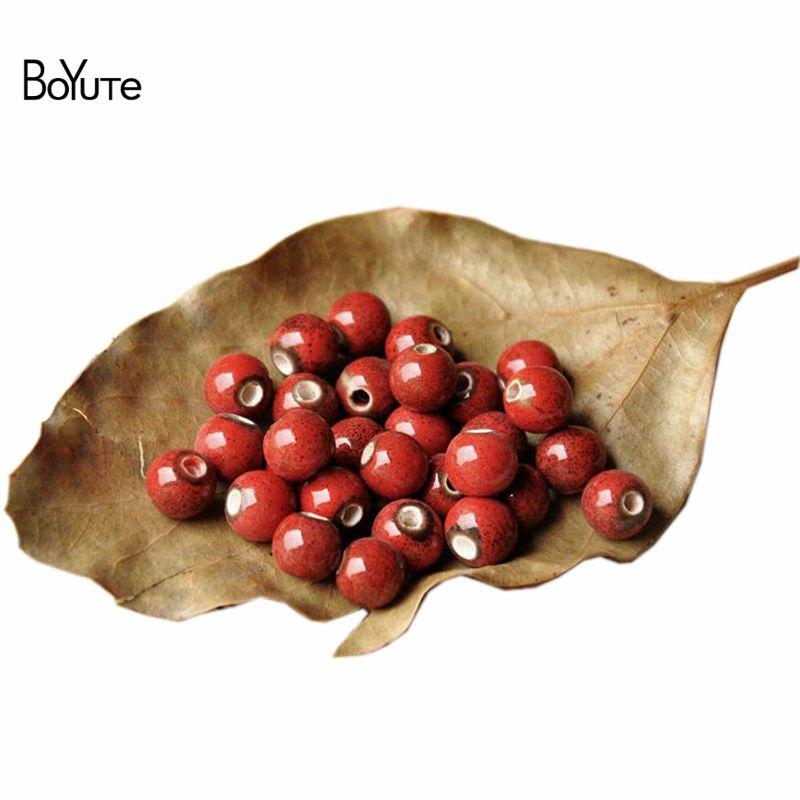 BoYuTe (100 шт. / Лот) 9 цветов круглые 8 мм глазурь керамические бусины Diy изготовление ювелирных изделий модные бусы