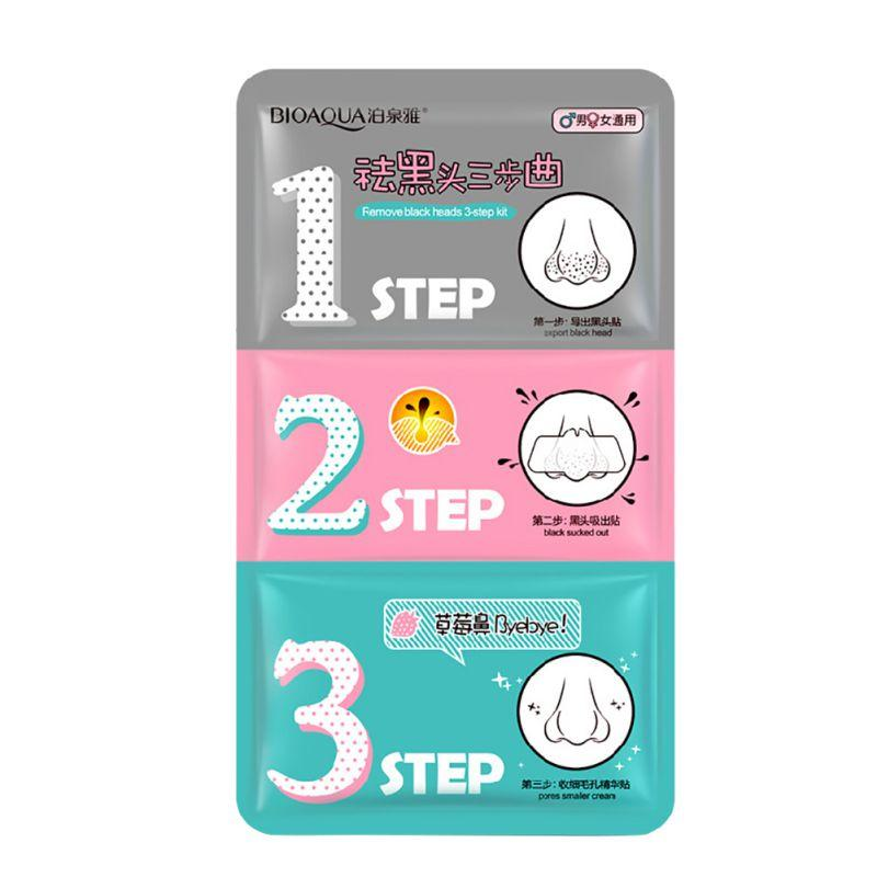 Wholesale- Beauty Clean Face Care Cosmetic Pig Nose Mask Remove Blackhead Remover Clear Black Head 3 Step Kit