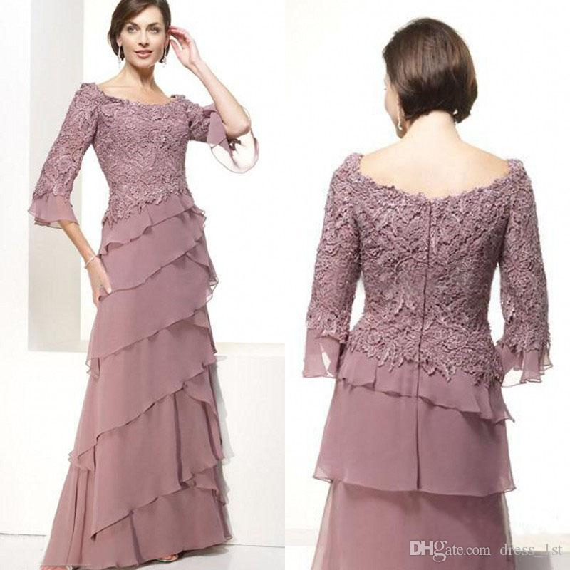 Elegant 2017 New Pale Mauve Lace And Chiffon Mother Of The Bride Dresses Cheap 3/4 Long Sleeve Tiered Mother Groom Dress EN1217