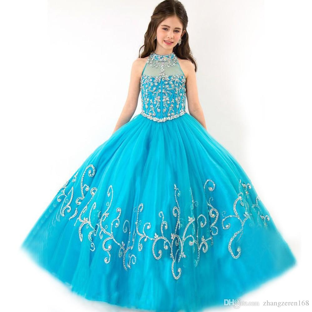 Size 12 14 Vintage Pageant Dresses For Girls Glitz Sheer Blue Beading Floor  Length Ball Gown Princess Girls Pageant Dresses Tutu Dresses Girls Party