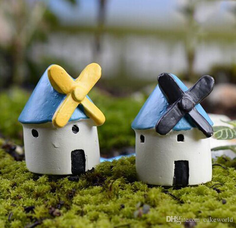 5 pz casa mulino a vento miniature per terrari resina decorazione del giardino del giardino castello bonsai figurine ornamento casa delle bambole decorazioni per la casa