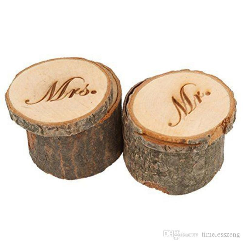 """Country Vintage """"Mr and Mrs"""" Ring Box Wedding Valentines Wooden Ring Round Holder Jewelry Case Gifts Box 2pcs/set"""
