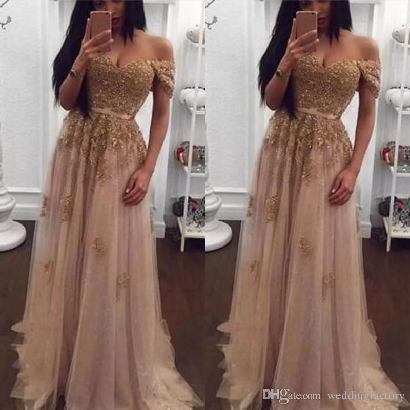 Champagne Lace Perlen Arabisch Abendkleider Schatz A-Linie Tüll Prom Kleider Vintage Schulterfrei Günstige Formale Partei-Kleider