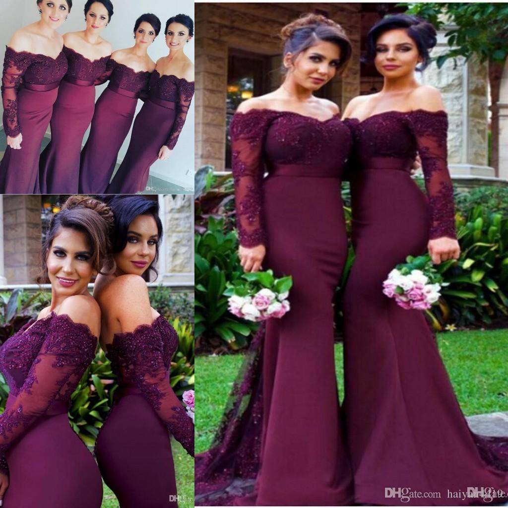 2018 Cheap Burgundy Mermaid Bridesmaid Dresses Off Shoulder Long Sleeves  Lace Appliques Beaded Plus Size Wedding Guest Maid Of Honor Gowns  Bridesmaid ...