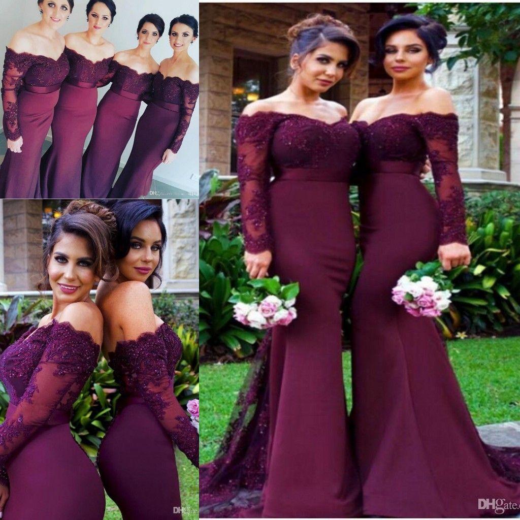 2021 싼 부르고디 인어 신부 들러리 드레스 어깨 긴 소매 레이스 아플리케이션 페르시 플러스 사이즈 웨딩 게스트 하녀 명예 가운