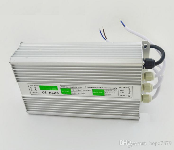 Top Quality 200W waterproof LED power supply led driver Lighting Transformers outdoor use Output DC12V 24V input AC 90V~130V/170V~250V