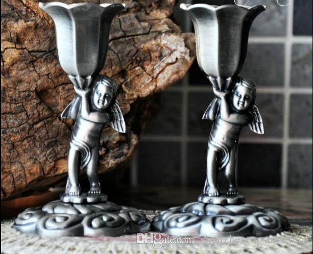 Classical metal retro candlestick,Romantic home Decoration,Wedding angel candle holder,Size 110mm*70mm