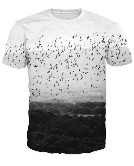 Animal Birds Camiseta flying birds vibrante tee Ropa de moda Tops Casual Mujer Hombre 3d Print Summer Style camiseta